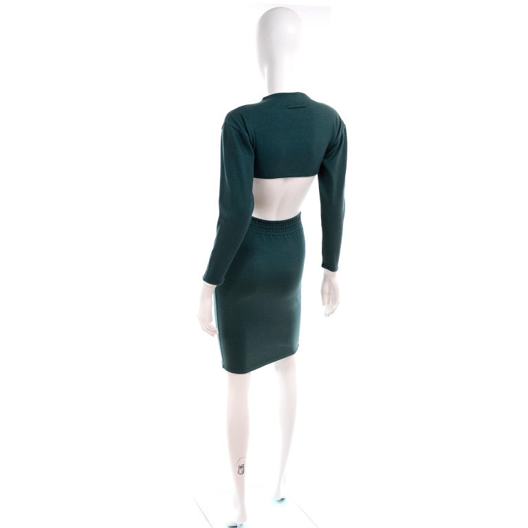 Women's 1980s Jean Paul Gaultier Vintage Cone Bust Cropped Top & Skirt 2 pc Green Dress For Sale