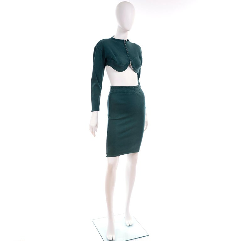 1980s Jean Paul Gaultier Vintage Cone Bust Cropped Top & Skirt 2 pc Green Dress For Sale 1