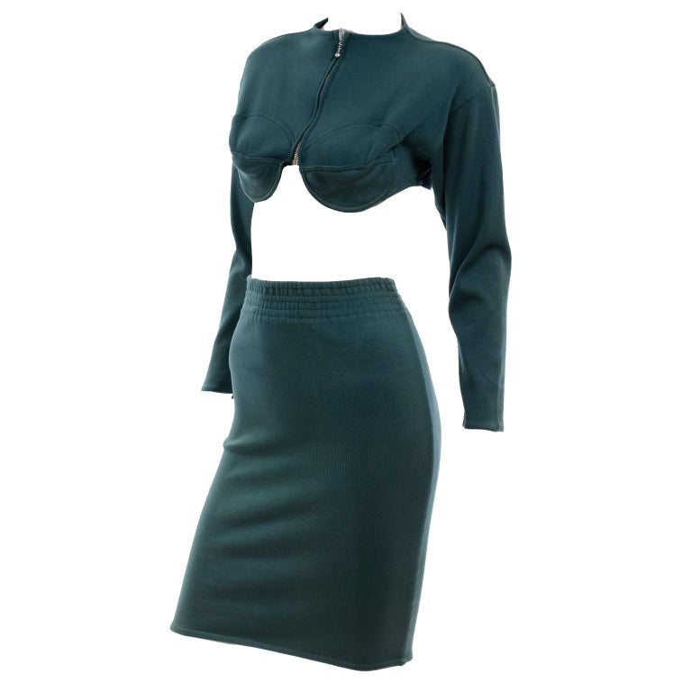 1980s Jean Paul Gaultier Vintage Cone Bust Cropped Top & Skirt 2 pc Green Dress For Sale 3