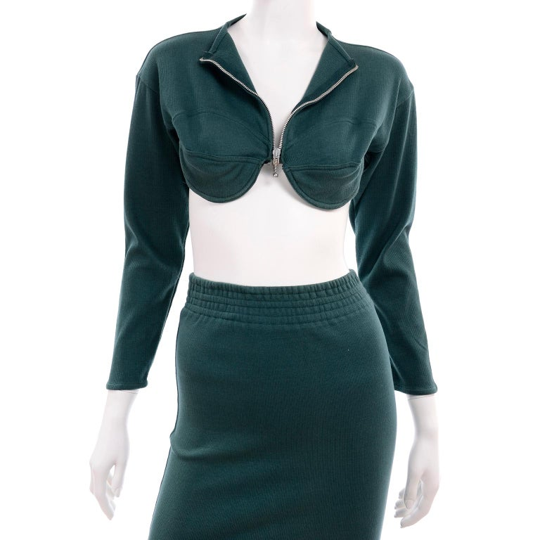 1980s Jean Paul Gaultier Vintage Cone Bust Cropped Top & Skirt 2 pc Green Dress For Sale 4