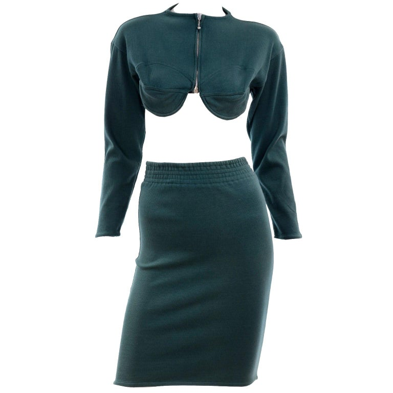 1980s Jean Paul Gaultier Vintage Cone Bust Cropped Top & Skirt 2 pc Green Dress For Sale