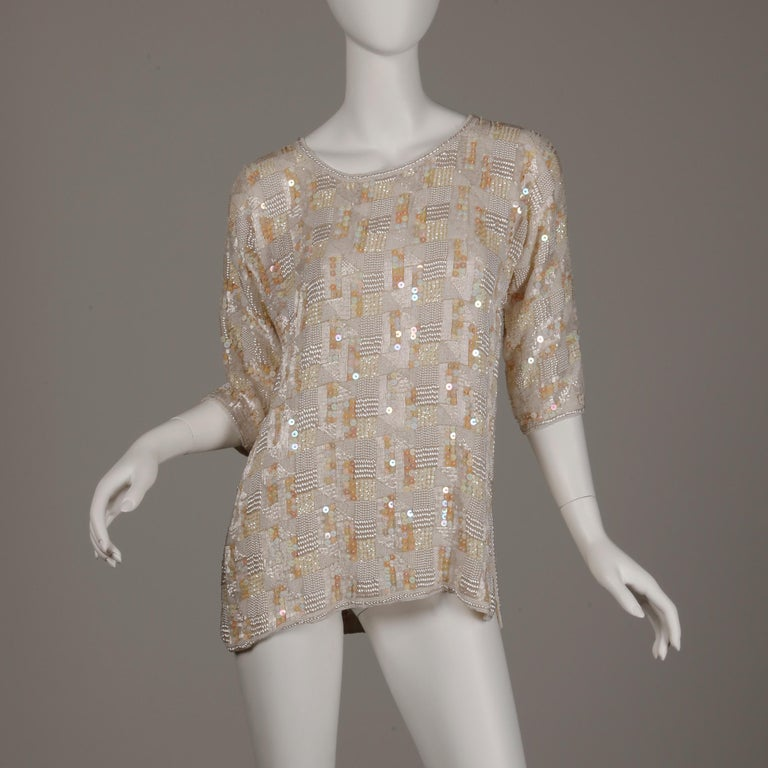 Brown 1980s Jenny Lewis Vintage Metallic White Sequin + Pearl Beaded Dress Top/ Shirt For Sale