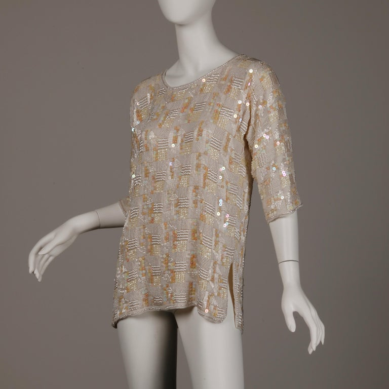 Women's 1980s Jenny Lewis Vintage Metallic White Sequin + Pearl Beaded Dress Top/ Shirt For Sale