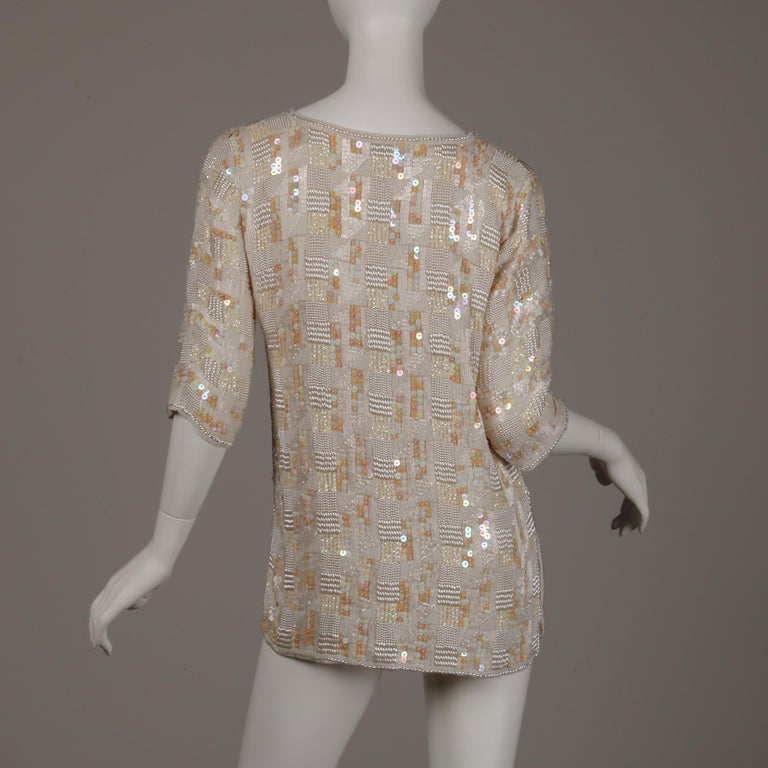 1980s Jenny Lewis Vintage Metallic White Sequin + Pearl Beaded Dress Top/ Shirt For Sale 2