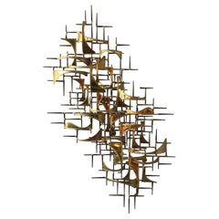 1980s Jere Style Brass and Copper Abstract Wall Sculpture