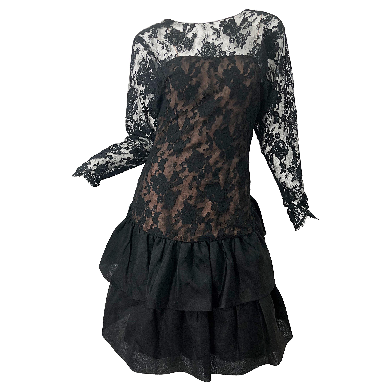 1980s Jill Richards Black + Nude Silk Chiffon French Lace Vintage 80s Dress