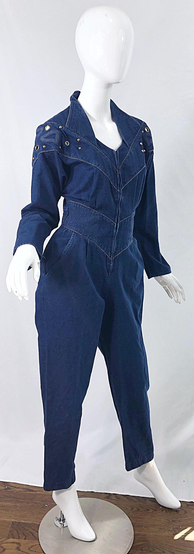 1980s Jillian Arthur Blue Jean Avant Garde Grommett Beaded Vintage 80s Jumpsuit For Sale 6