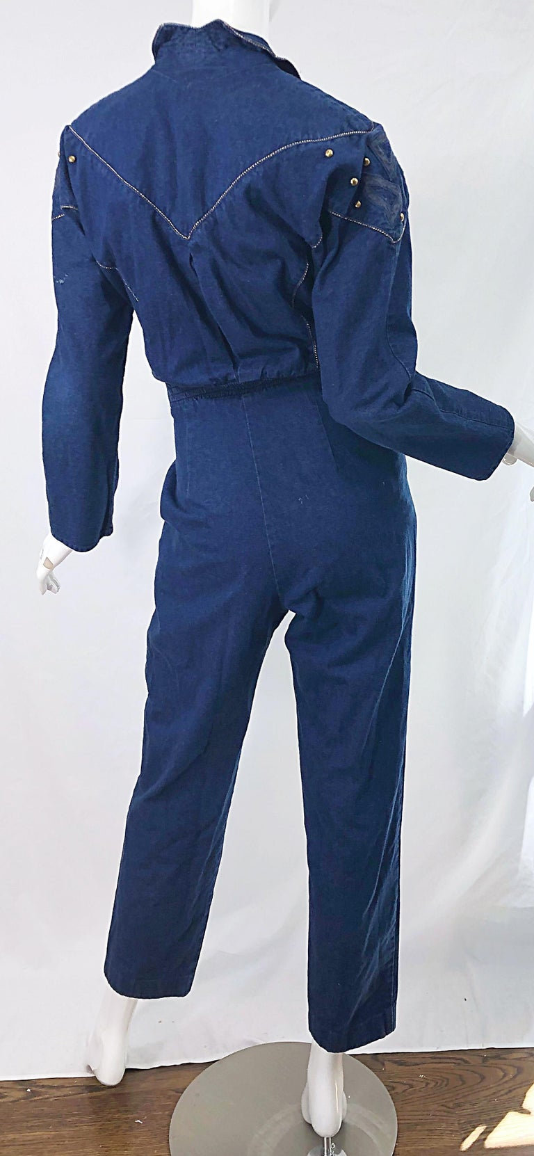 1980s Jillian Arthur Blue Jean Avant Garde Grommett Beaded Vintage 80s Jumpsuit For Sale 7