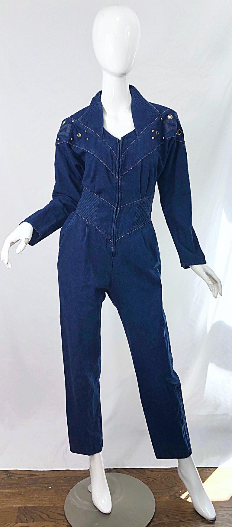1980s Jillian Arthur Blue Jean Avant Garde Grommett Beaded Vintage 80s Jumpsuit For Sale 8
