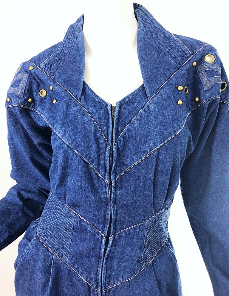 1980s Jillian Arthur Blue Jean Avant Garde Grommett Beaded Vintage 80s Jumpsuit In Good Condition For Sale In Chicago, IL