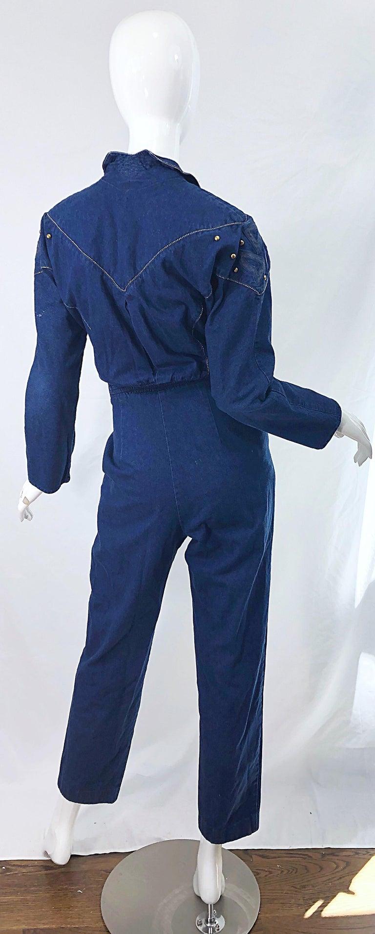 Women's 1980s Jillian Arthur Blue Jean Avant Garde Grommett Beaded Vintage 80s Jumpsuit For Sale