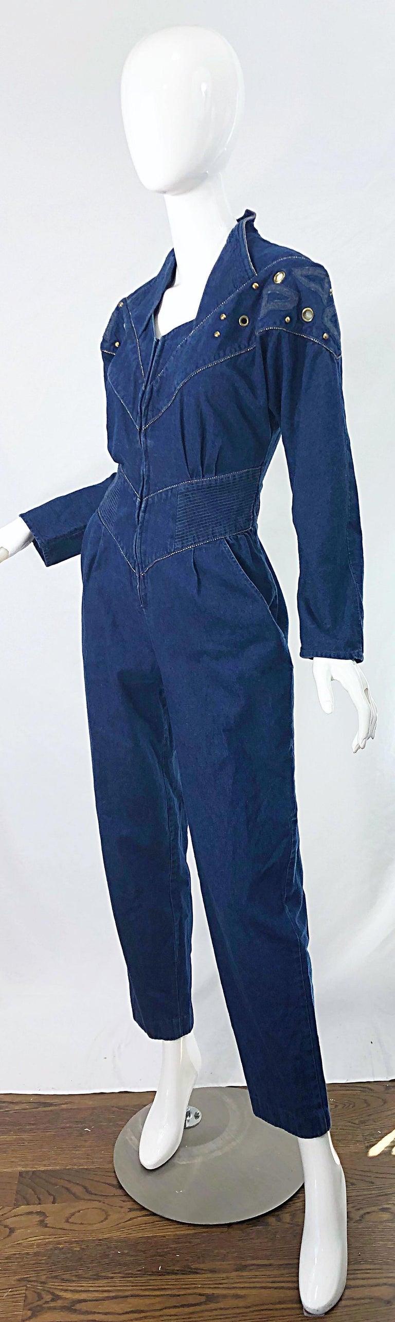 1980s Jillian Arthur Blue Jean Avant Garde Grommett Beaded Vintage 80s Jumpsuit For Sale 1
