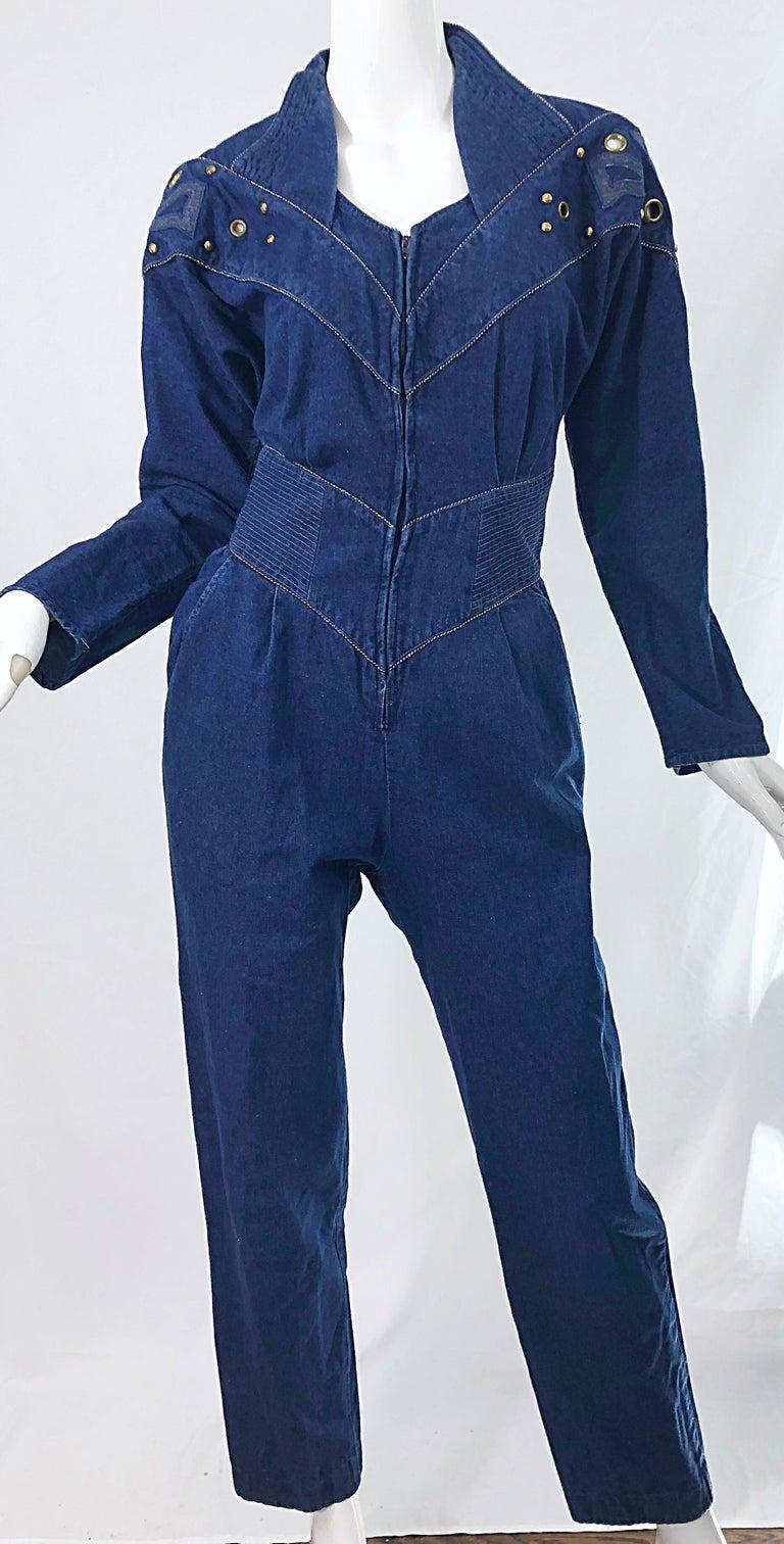1980s Jillian Arthur Blue Jean Avant Garde Grommett Beaded Vintage 80s Jumpsuit For Sale 2