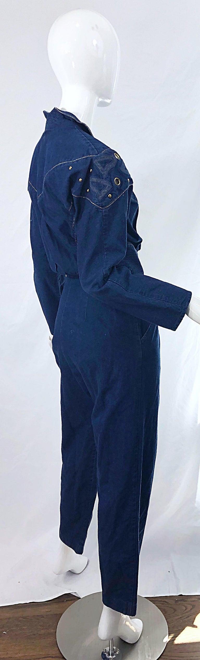 1980s Jillian Arthur Blue Jean Avant Garde Grommett Beaded Vintage 80s Jumpsuit For Sale 3