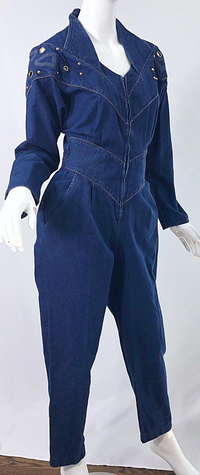1980s Jillian Arthur Blue Jean Avant Garde Grommett Beaded Vintage 80s Jumpsuit For Sale 4