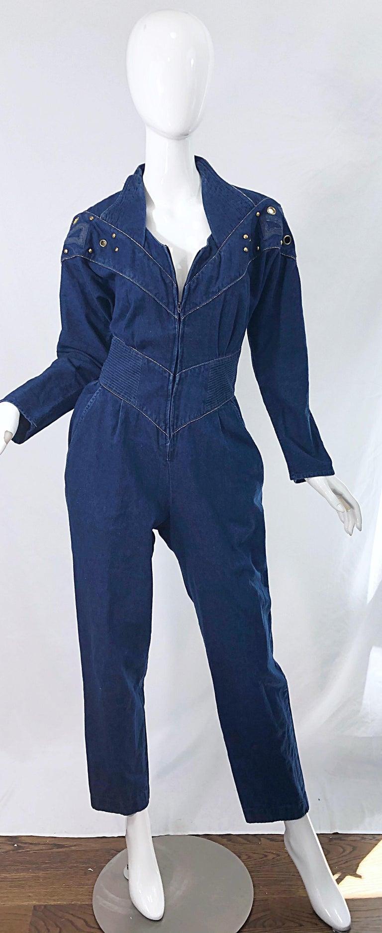 1980s Jillian Arthur Blue Jean Avant Garde Grommett Beaded Vintage 80s Jumpsuit For Sale 5