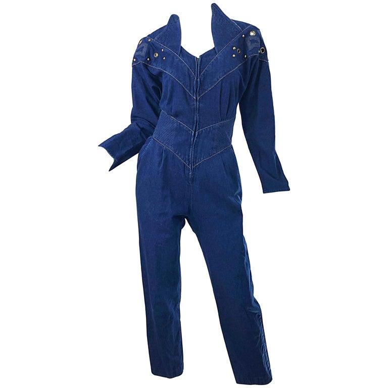 1980s Jillian Arthur Blue Jean Avant Garde Grommett Beaded Vintage 80s Jumpsuit For Sale