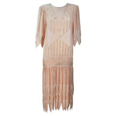 Judith Ann Creations 1920s Style Silk Peach Beaded Flapper Dress