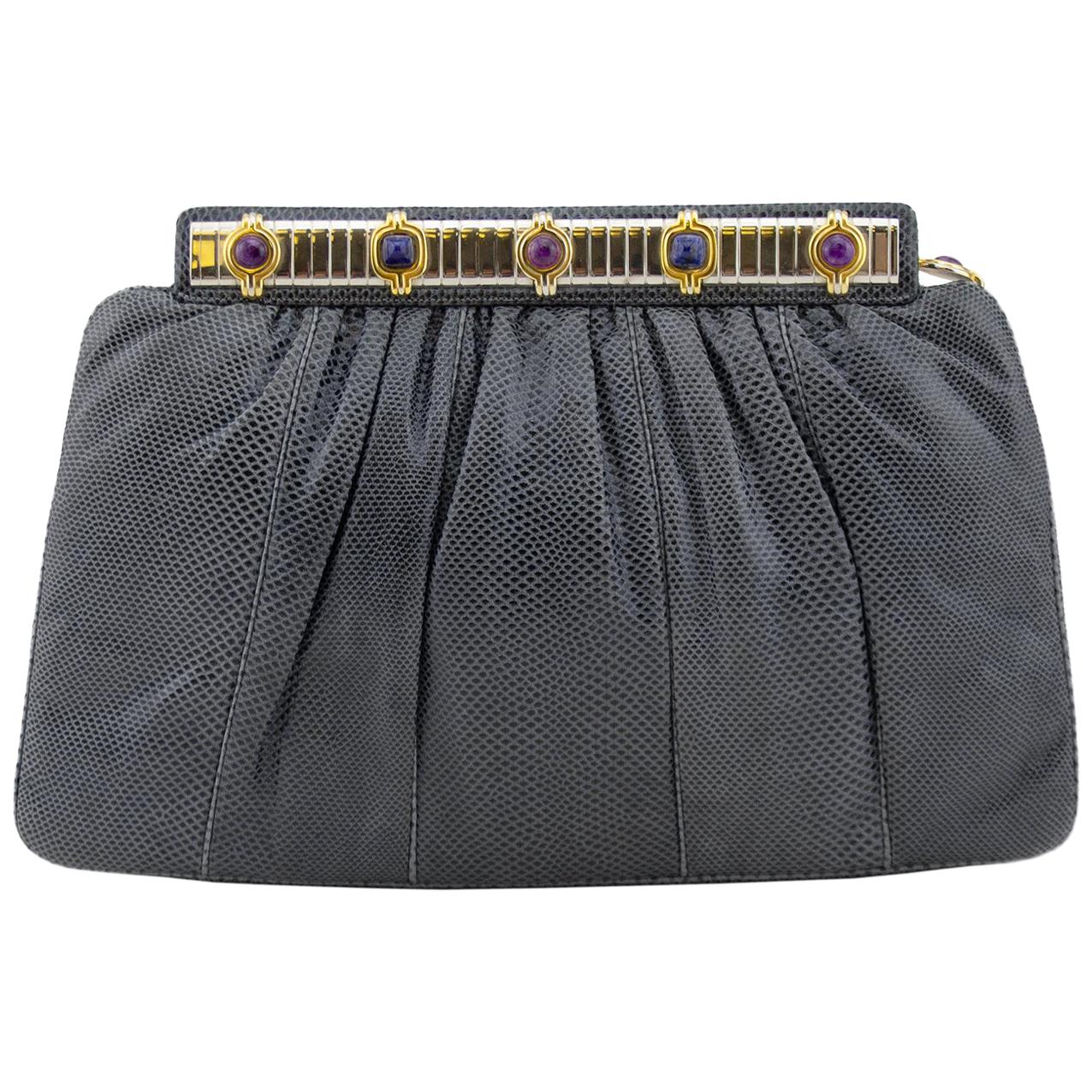 1980s Judith Leiber Grey Patterned Leather Clutch with Art Deco Details