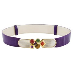 1980s Judith Leiber Purple Patterned Leather Belt with Cabochons