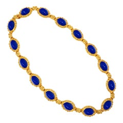 1980s Kenneth Jay Lane KJL Faux Lapis Cabochon Gilded Statement Necklace, Signed
