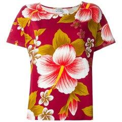 1980s Kenzo Jeans Bordeaux Floral T-shirt