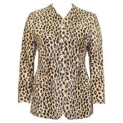 1980s Kenzo Leopard Faux Fur Collarless Jacket