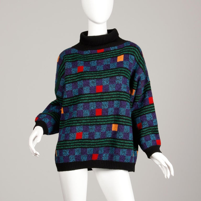 Black 1980s Kenzo Vintage Turtleneck Sweater with Colorful Checkers + Stripes For Sale