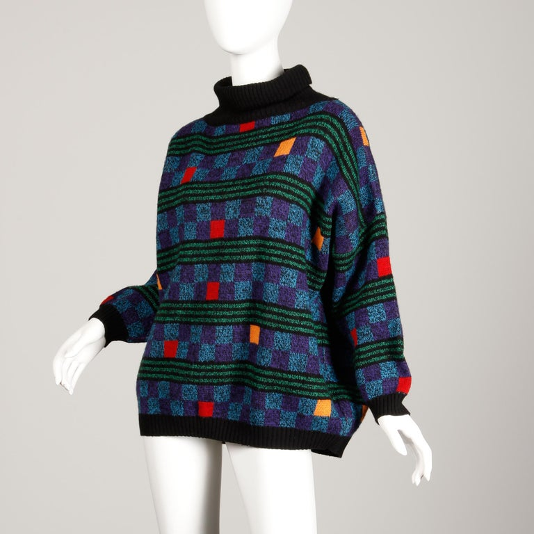 Women's or Men's 1980s Kenzo Vintage Turtleneck Sweater with Colorful Checkers + Stripes For Sale