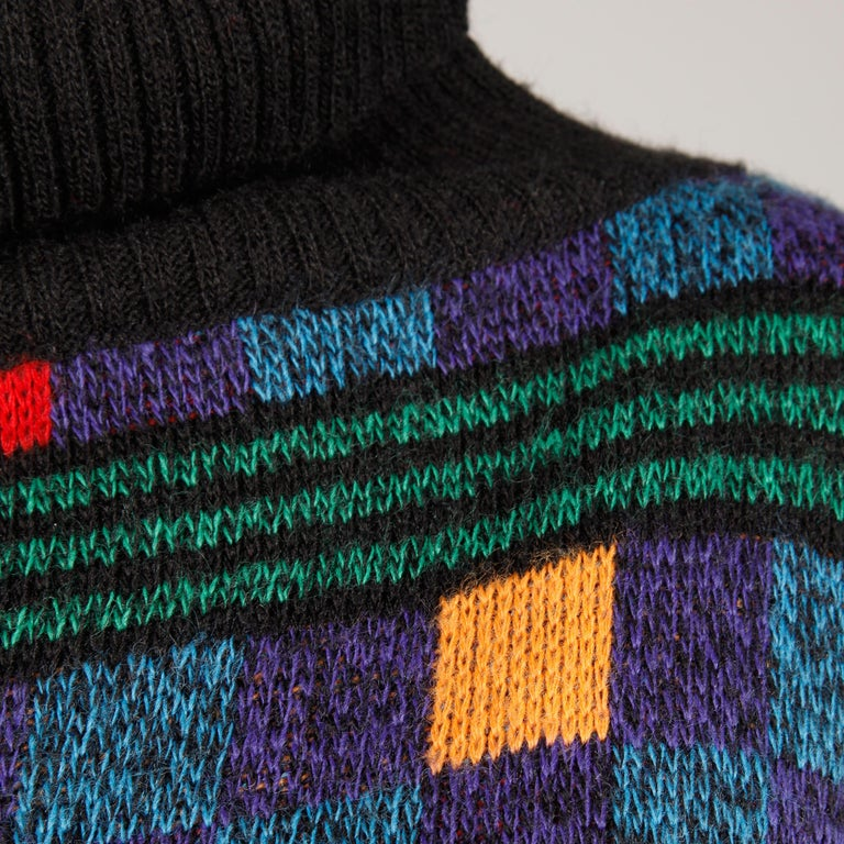 1980s Kenzo Vintage Turtleneck Sweater with Colorful Checkers + Stripes For Sale 1