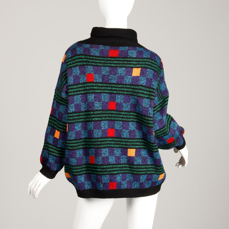1980s Kenzo Vintage Turtleneck Sweater with Colorful Checkers + Stripes For Sale 2