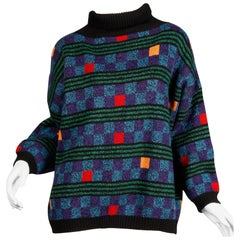 1980s Kenzo Vintage Turtleneck Sweater with Colorful Checkers + Stripes