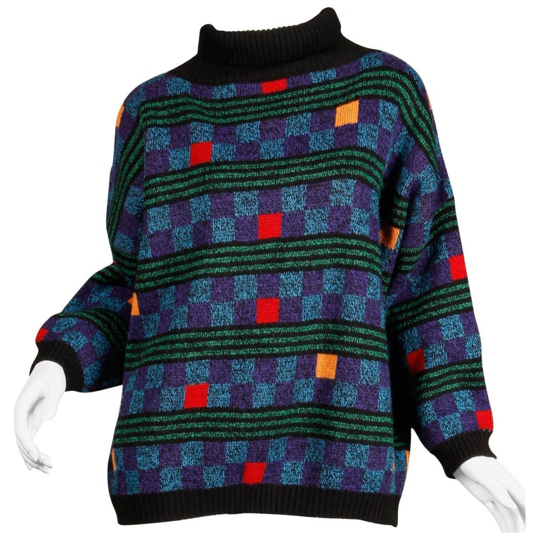 1980s Kenzo Vintage Turtleneck Sweater with Colorful Checkers + Stripes For Sale