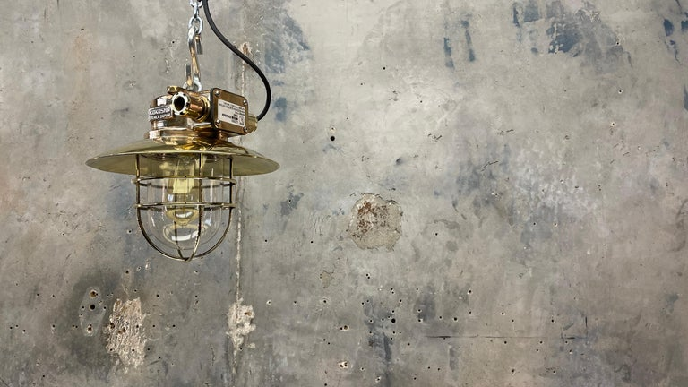 1980s Japanese Bronze Industrial Ceiling Light Brass Shade & Glass Dome U/L For Sale 6