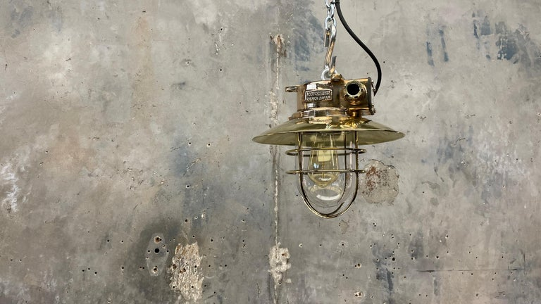 1980s Japanese Bronze Industrial Ceiling Light Brass Shade & Glass Dome U/L For Sale 7