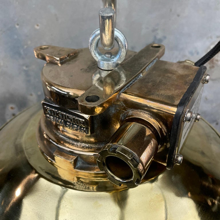 1980s Japanese Bronze Industrial Ceiling Light Brass Shade & Glass Dome U/L For Sale 9