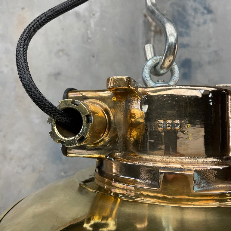 1980s Japanese Bronze Industrial Ceiling Light Brass Shade & Glass Dome U/L For Sale 10