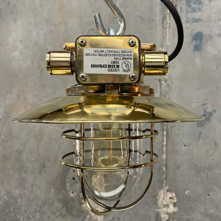 1980s Japanese Bronze Industrial Ceiling Light Brass Shade & Glass Dome U/L For Sale 12