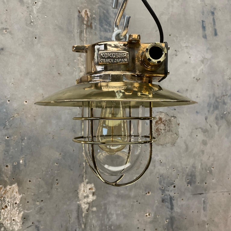 1980s Japanese Bronze Industrial Ceiling Light Brass Shade & Glass Dome U/L For Sale 14