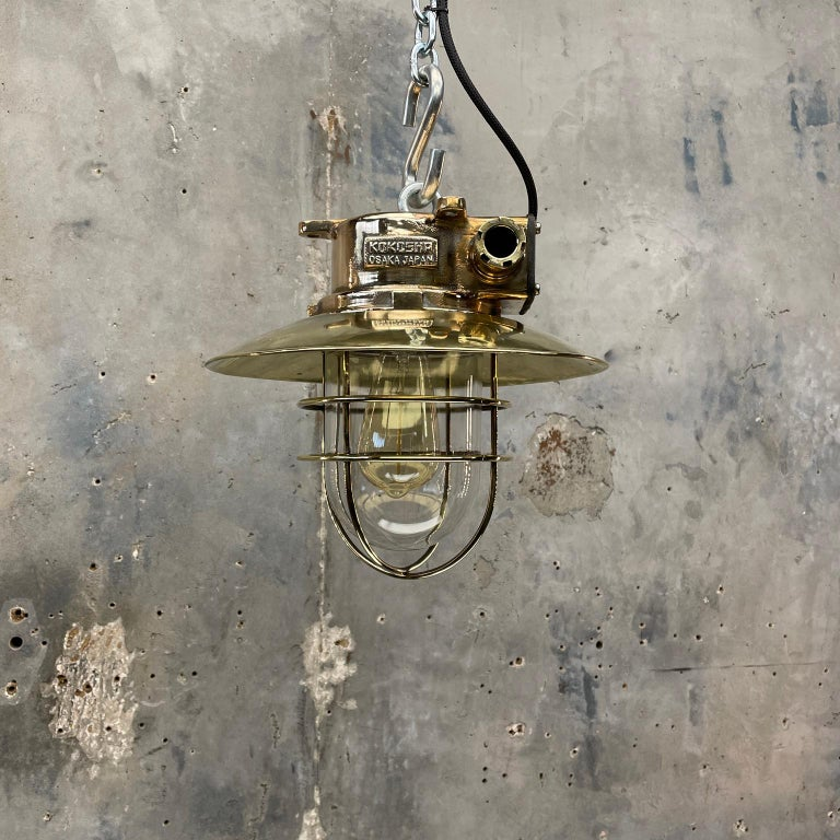 1980s Japanese Bronze Industrial Ceiling Light Brass Shade & Glass Dome U/L For Sale 15