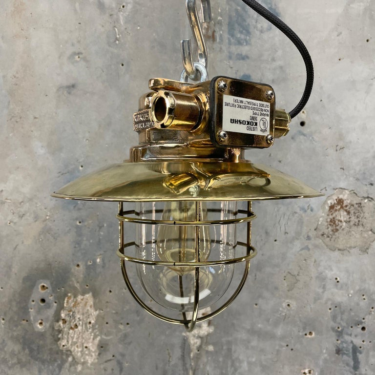 Cast 1980s Japanese Bronze Industrial Ceiling Light Brass Shade & Glass Dome U/L For Sale