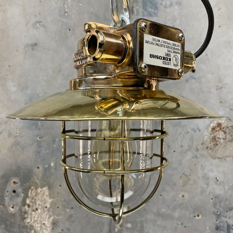 1980s Japanese Bronze Industrial Ceiling Light Brass Shade & Glass Dome U/L In Good Condition For Sale In Leicester, Leicestershire