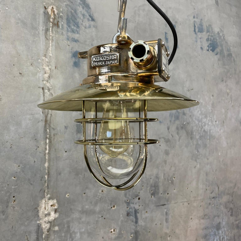 Late 20th Century 1980s Japanese Bronze Industrial Ceiling Light Brass Shade & Glass Dome U/L For Sale