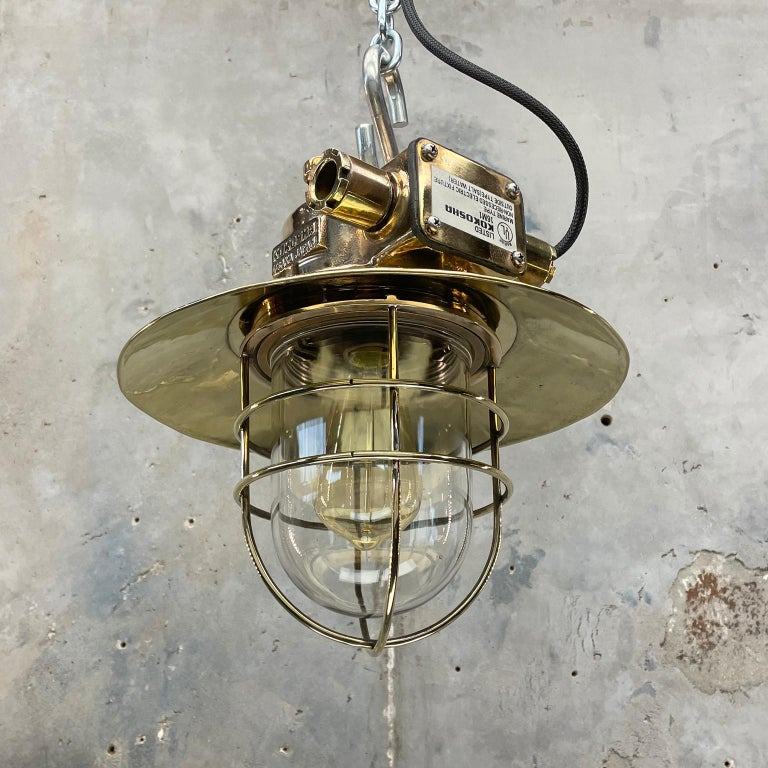 1980s Japanese Bronze Industrial Ceiling Light Brass Shade & Glass Dome U/L For Sale 1
