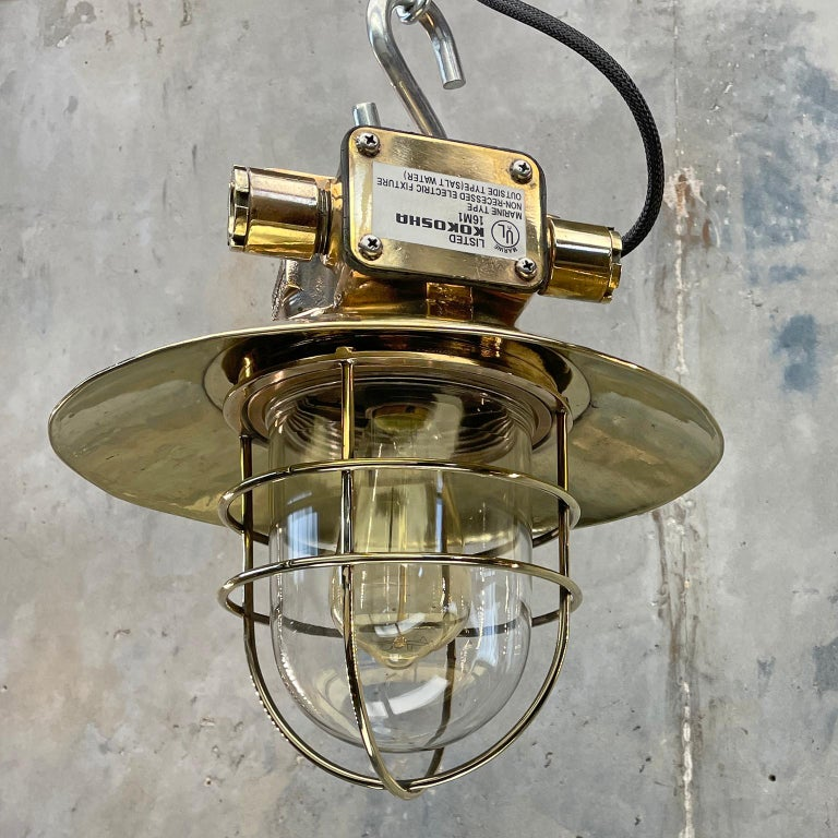 1980s Japanese Bronze Industrial Ceiling Light Brass Shade & Glass Dome U/L For Sale 2