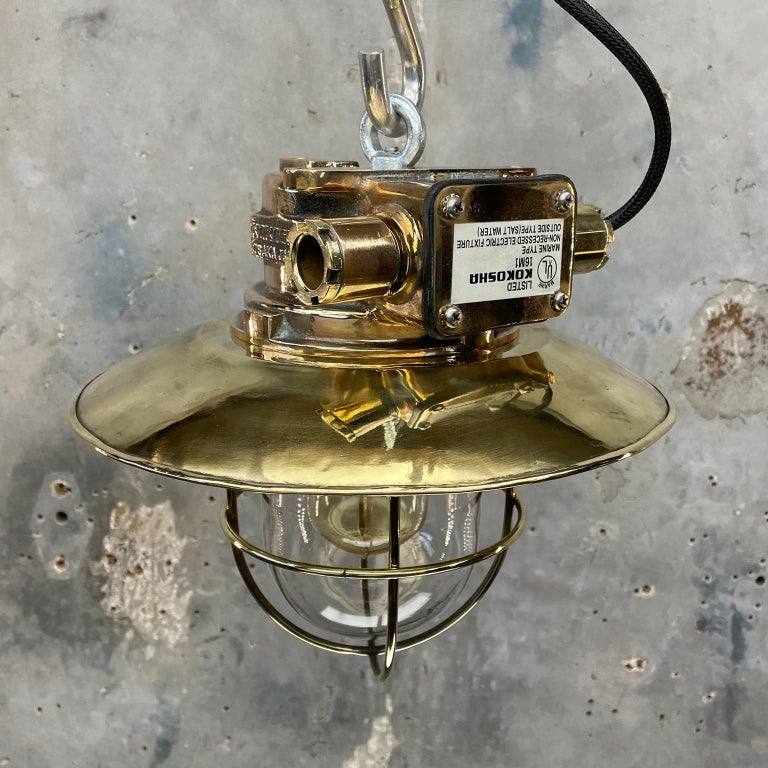 1980s Japanese Bronze Industrial Ceiling Light Brass Shade & Glass Dome U/L For Sale 3