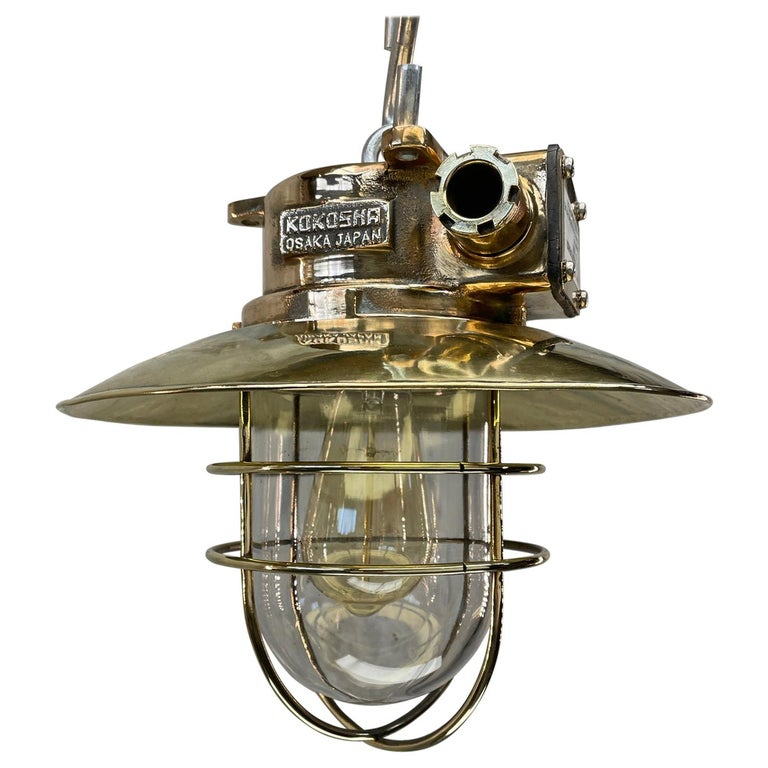 1980s Japanese Bronze Industrial Ceiling Light Brass Shade & Glass Dome U/L For Sale