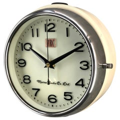1980s Korean Vintage Marine Radio Ships Wall Clock, Cream, Chrome and Glass