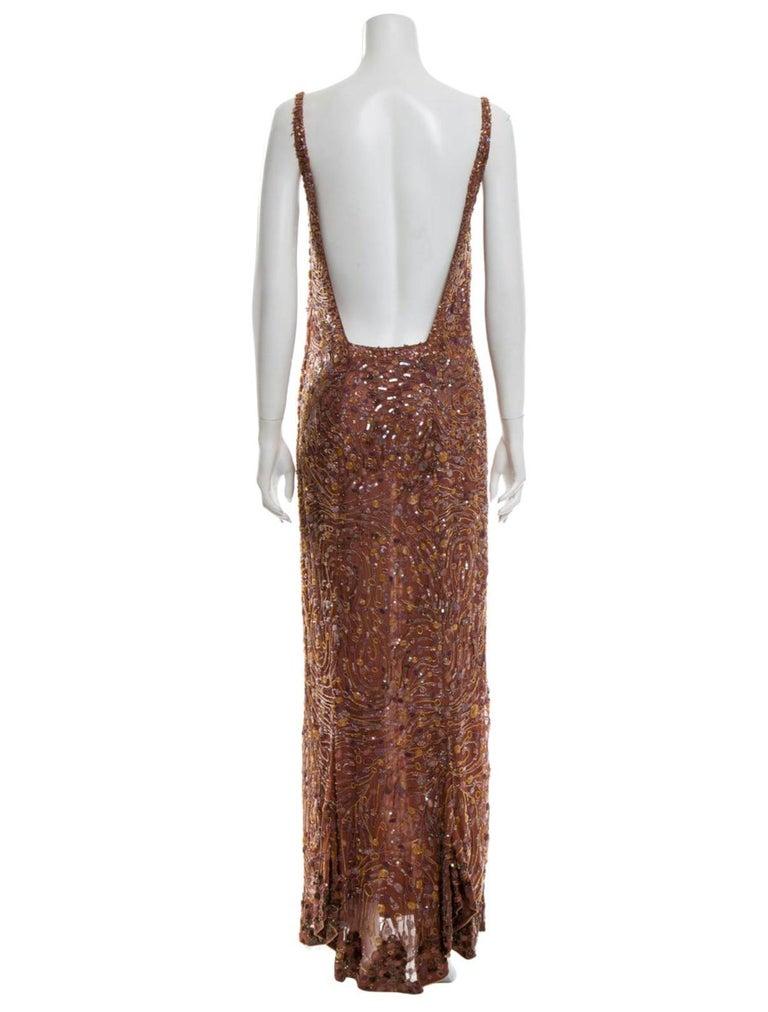 Brown 1980s Krizia beaded silk gown