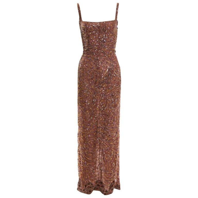 1980s Krizia beaded silk gown